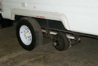 The Axle Crutch is not an exciting product, unless of course you have a suspension or bearing problem on the road. This photo is from the Axle Crutch website.