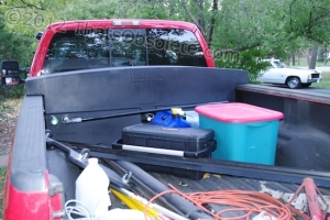 The Tankmin system looks like a toolbox and stores 70 gallons of fresh water above a working 60-gallon waste tank. Instant boondocking.