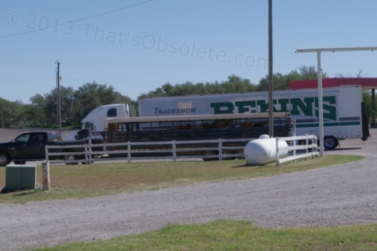 A horse trailer, whose driver stopped for some grub at the adjacent restaurant in Texola, OK.