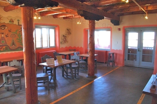 This is the dining room, with the door facing the desert vistas.