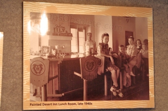 "The caption reads: ""Painted Desert Inn Lunch Room, late 1940s""."