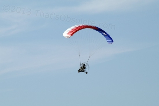 Five days ago, this ultralight passed directly overhead at not much more than 100 feet altitude! Fun!