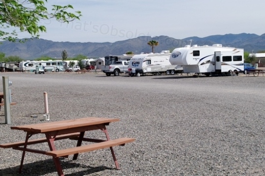 A typical camping area. Rates are reasonable for Escapees members, and dry camping (no hookups) was $5/day. That gets you access to trash bins, fresh drinking water, and a dump station.
