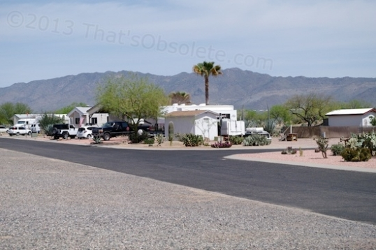 A typical North Ranch street. Wide and paved. Housing ranges from park models to modular to conventional.