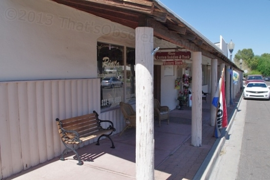 The town has several blocks of covered walkways, which is a handy thing in Arizona. This is a saddlery and leather goods shop.