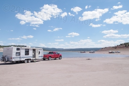 The $8 campsite at Bluewater Lake State Park, New Mexico.