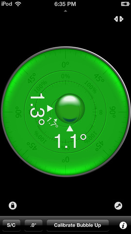 This is how the Clinometer app looks on an iPod when laid flat on its back.