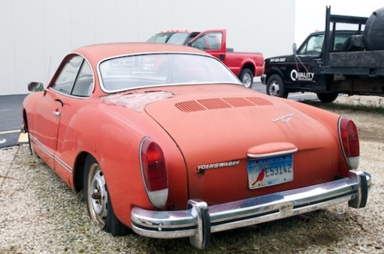 This 1972-1974 Volkswagen Karmann Ghia was found sinking into the ground at a storage facility.