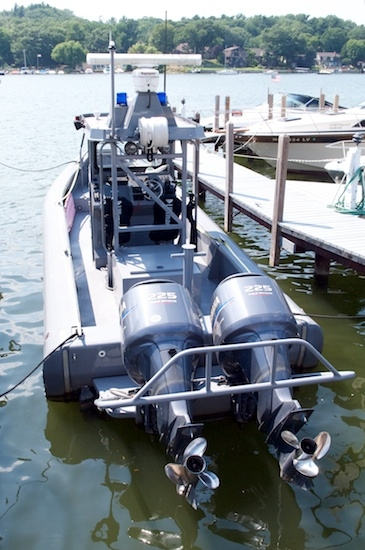 A police boat sporting two 225 HP outboards. Yowza!