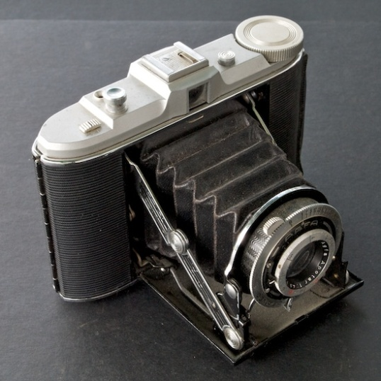 This German Agfa medium format camera dates from the early 1950s, and uses a still-available film that is several times larger than 35mm. Large prints? No Problem! But you have to  know what you're doing with a fully manual camera like this. Point and shoot was still in the distant future.