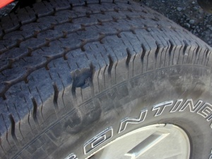 Oops! One of several chunks missing on the Furd's tires. UV rays, heavy loads and bad roads are a trial for them.