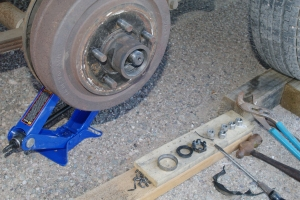 First wheel bearing, gone! It took the hub and brake drum with it.