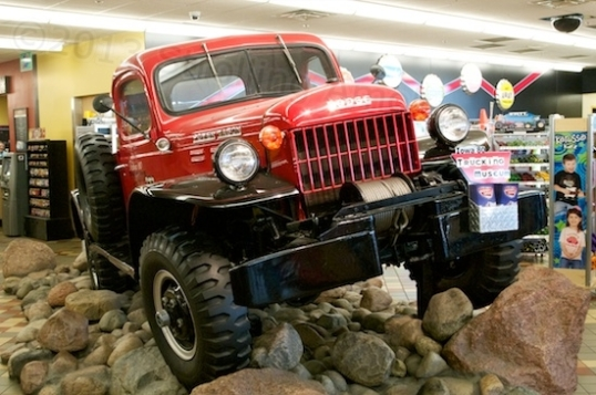 An old Dodge Power Wagon resides in the lobby.