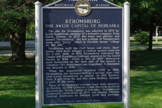 This plaque at the campground entrance to Buckley Park summarizes the beginnings of Stromsburg, which was created by a development company from Illinois in the same way that housing developments are started today.