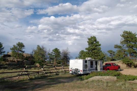 Boondocking in the Medicine Bow National Forest, in Wyoming.