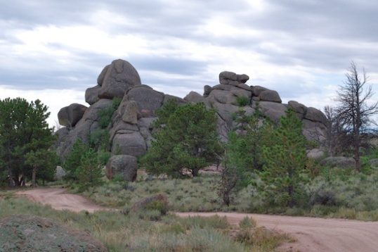 This camping trail leads to a large circle right beside the boulders.
