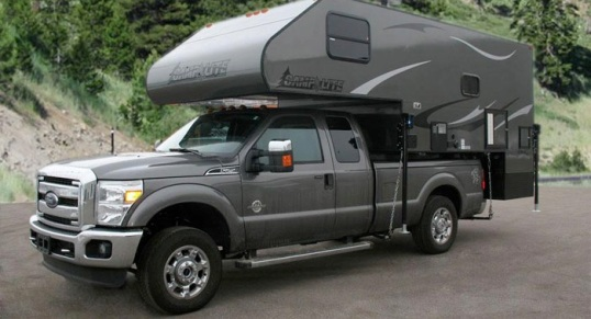 This Camplite 11 is their biggest, with separated restroom and shower, and all-aluminum construction. Dry weight is 2,600 pounds, too much for my own F-250, but that's actually light for something of this size!