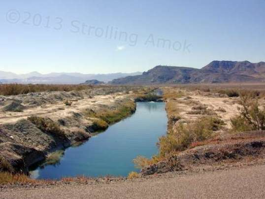 A canal feeding brine back toward the Bonneville Salt Flats.