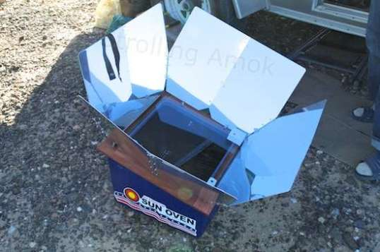 The All-American Sun Oven, set in the shade to keep it from heating up!