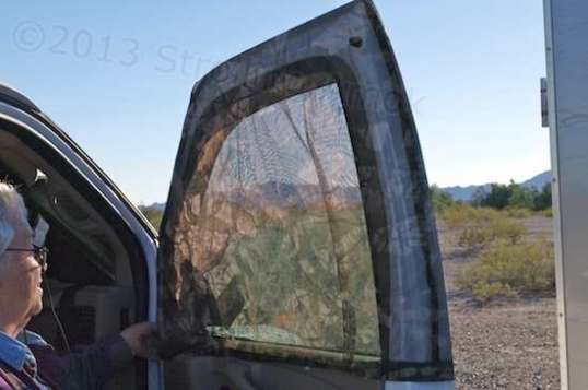 How do you get insect-free air ventilation in a van? Fold over some netting and sew it into a slip cover that drops right over the doorframe! No doubt the Swankster thinks it too simple to sell to others with the same need, and assumes that any idiot can sew one up in a jiffy himself. Wrongo!
