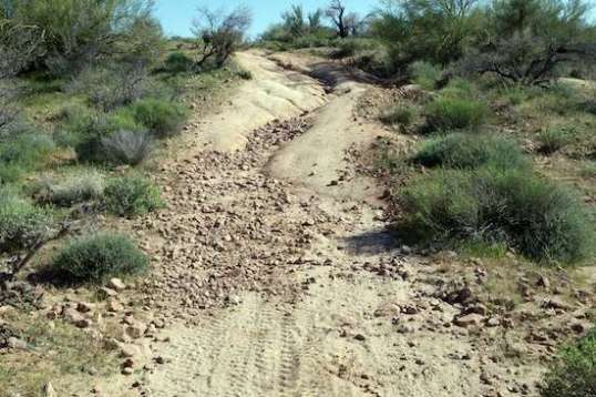 A Jeep trail up from an equine camping area up to near the top of a ridge poses a challenge.