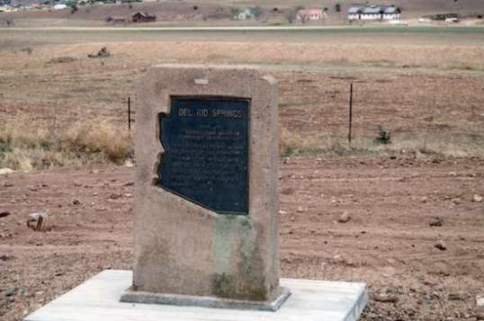 "By the way, the historical marker reads: ""Del Rio Springs Site of original Camp Whipple, established December 1863. From January 22 to May 18, 1864 the offices of the territorial government of Arizona were operated from tents and log cabins here, before being moved to Prescott, the first permanent capital."""