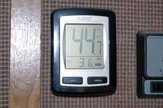 Yowza! My thermometer this morning indicated a cabin temp of 45, and outside a crispy 31 degrees!