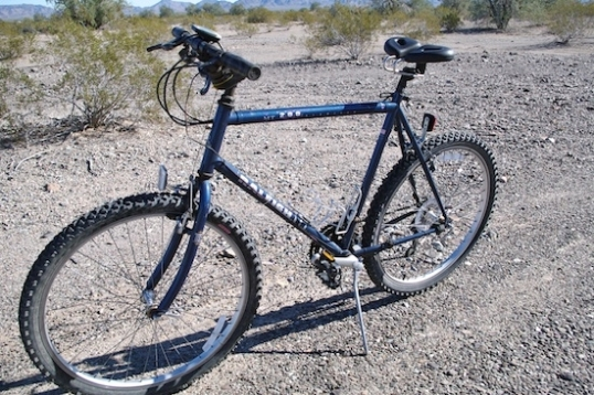The ol' Raleigh MT200, with mods that help me stay on it longer.