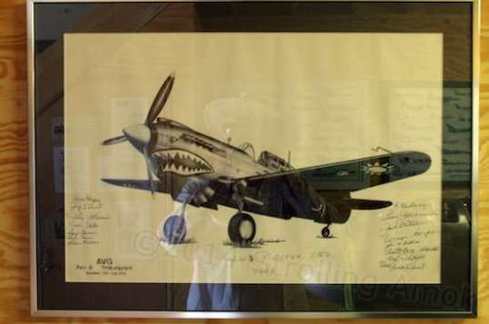 Lots of artwork and photos adorn the walls. This one's marked as the 443rd Fighter Squadron, 1943, with a lot of signatures. It's also labeled the Tomahawk, which is the name the Brits used for the P-40B & C models they received. Cool! Well, I think so.