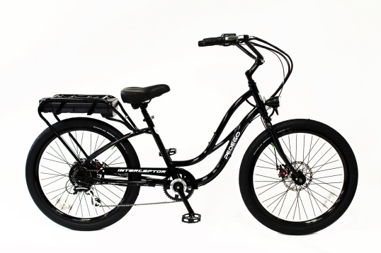 This Pedego Interceptor has the juice, but no suspension.