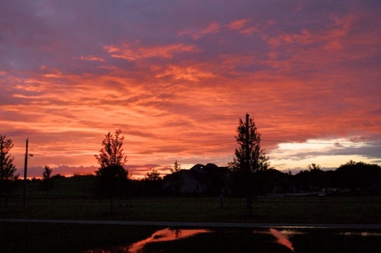 """...Red sky at dawn, quick, mow the lawn!"" Is that how it goes?"