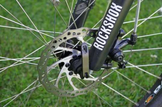 The front disc brake, like the rear, is pretty effective, and an improvement over classic caliper brakes.