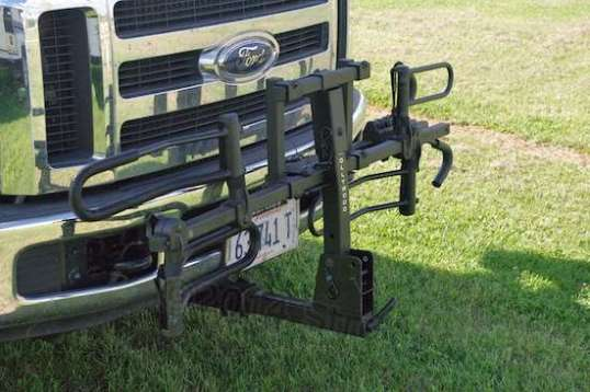 Folded up, the rack adds 14 inches to the 22-foot length of the truck. Just use care in tight parking!