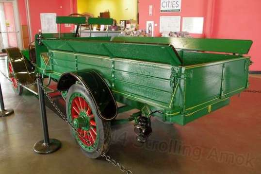 This 1913 Rambler truck cost $2,350, the price of the average house, and was bought by a plumber in Rock Island, Illinois. A pipe carrier rack is mounted off the passenger side. Weighing in at 4,150 pounds, it can haul a 2,000-pound load. Of necessity, its tires are solid rubber, not pneumatic like today.
