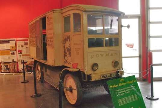 This 1911 Walker Electric Model 43 was built and bought in Chicago for use by the Bowman Dairy for delivery to restaurants and hospitals. It could carry an incredible 6,000 pounds and go 40-50 miles on a charge. Electric trucks predate gas trucks and dominated the market because of operating costs and the lack of downtime. The nations infrastructure at the time  offered no inter-city roads, and railroads delivered the goods. So electric trucks were best suited to take it from there. One populations began to fan out and roadways were created, the improved gas trucks made more sense and took over.