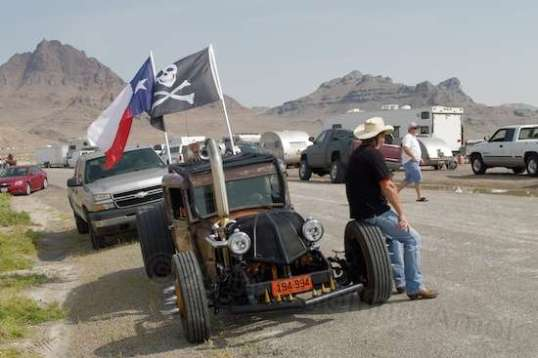 This guy is hoping to run his Cummins diesel-powered rod for a record.