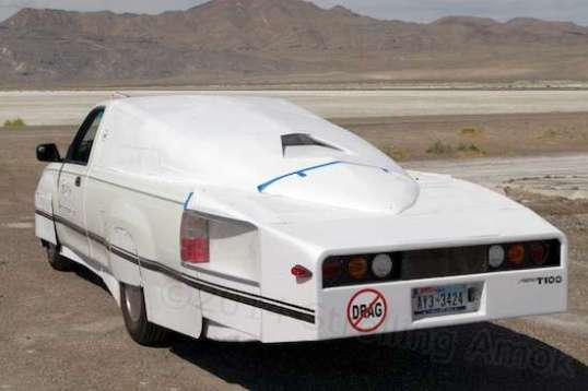 Yowza! A customized old Toyota pickup goes streamliner for mileage, not speed.