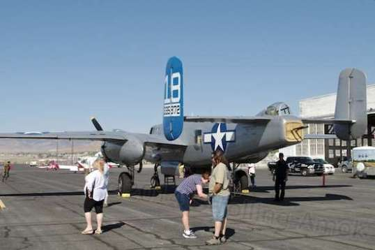 The B-25 on the ground.