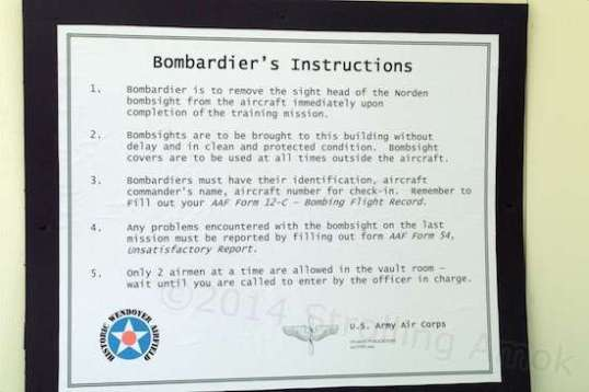 Procedures were established to try to keep the bombsights secure, since enemy operatives were known to be roaming about before and during the war.