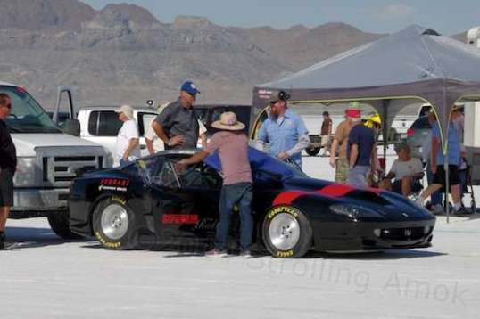 I did a double-take on this one. A Ferrari at Bonneville?