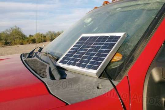 The Solartech 10 watt panel is left loose to to keep it potentially efficient no matter what the parking situation is.