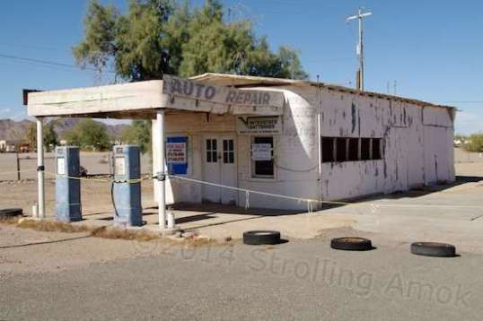 Along the same street is what's left of The Camel Stop Auto Repair, and old service station. And it's for sale!