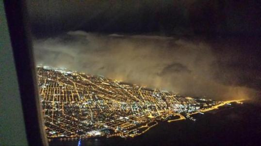 This was shot from a passenger liner over the city.