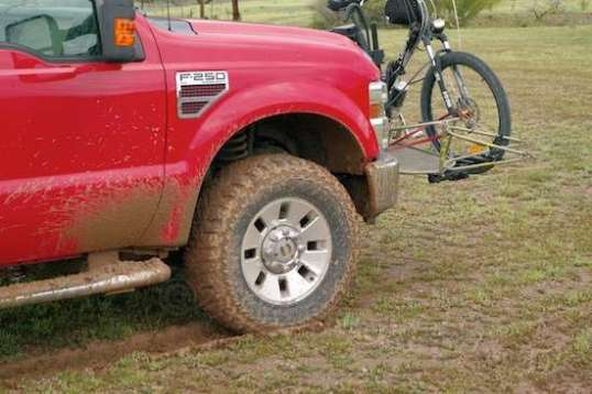 with a 2WD pickup, this is enough to get you stuck. This is slightly downhill, and it still required 4WD.