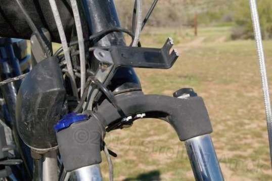 Bugger! I told you these trails are rocky and washboarded! The original fender support bracket snapped.