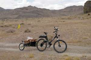 That is just over 100 pounds of groceries packed in on a 9-mile segment. It was too much like riding two unicycles, not helped by the height of the load.