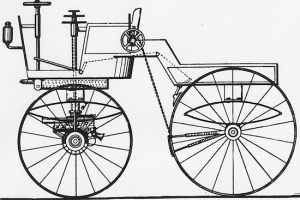 "A diagram from the infamous Selden Patent, where Mr. Geo. Selden initially succeeded in patenting the ""hydro-carbon road engine"", the generic gas-engine automobile. The first patent troll?"