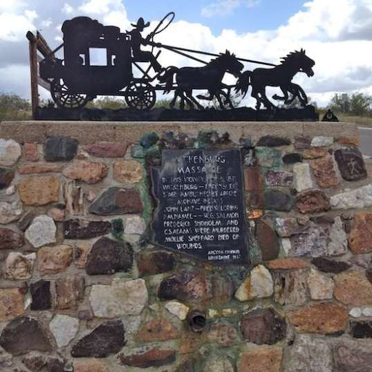 The 1937 stone structure commemorating the ambush of the Ehrenburg-Wickenburg Stage in 1871.