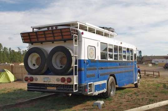 This bus got my attention in the RV park, sitting in the group tenting area. How'd you like to lift one of those tires up into position?