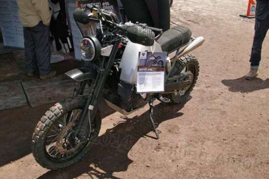A motorcycle clothing maker had this 2WD cycle made up as a promotion, though the driveline is premade by a supplier to the military.